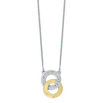 Perfect Fit Silver & 9ct Gold Diamond Set Union Pendant - Product number 4761979