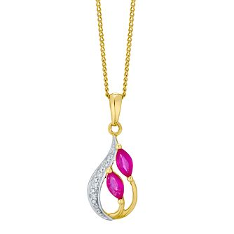 9ct Gold Marquise Treated Ruby & Diamond Teardrop Pendant - Product number 4762258