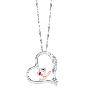 Silver & 9ct Rose Gold Diamond Set Initial Y Pendant - Product number 4762363