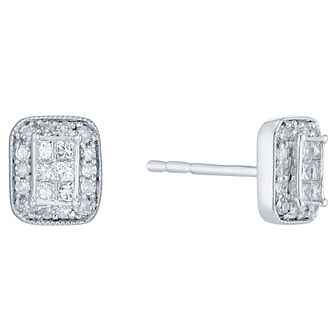 9ct White Gold 1/5ct Diamond Perfect Fit Studs - Product number 4762916