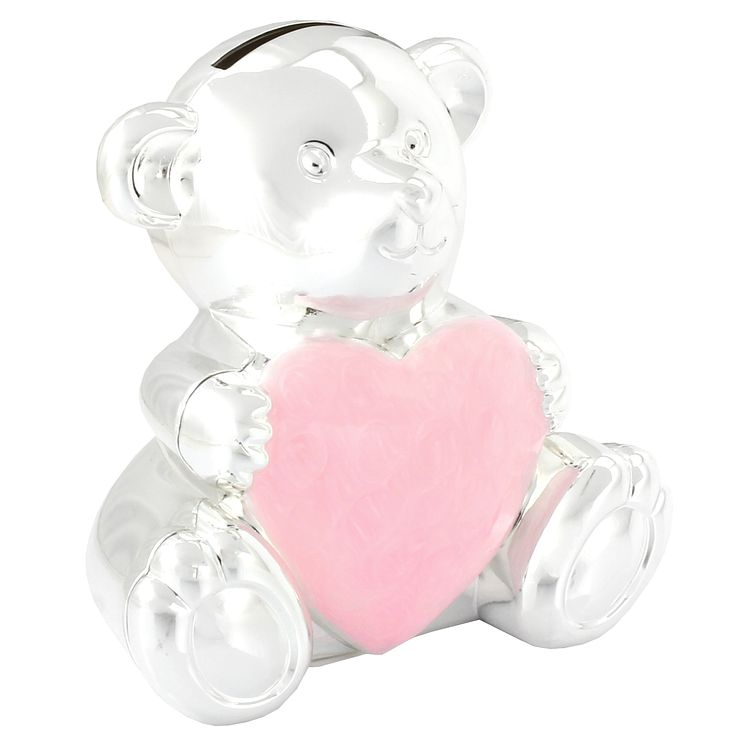 Silver-Plated Teddy Money Box With Pink Heart - Product number 4771206