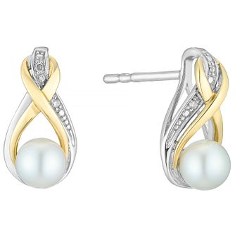 9ct Silver Pearl Birthstone & Diamond Twist Earrings - Product number 4780728