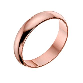 9ct rose gold 4mm D shaped plain court ring - Product number 4790359