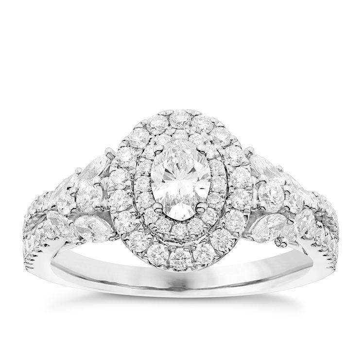 Vera Wang 18ct White Gold 1.18ct Diamond Double Halo Ring - Product number 4799739