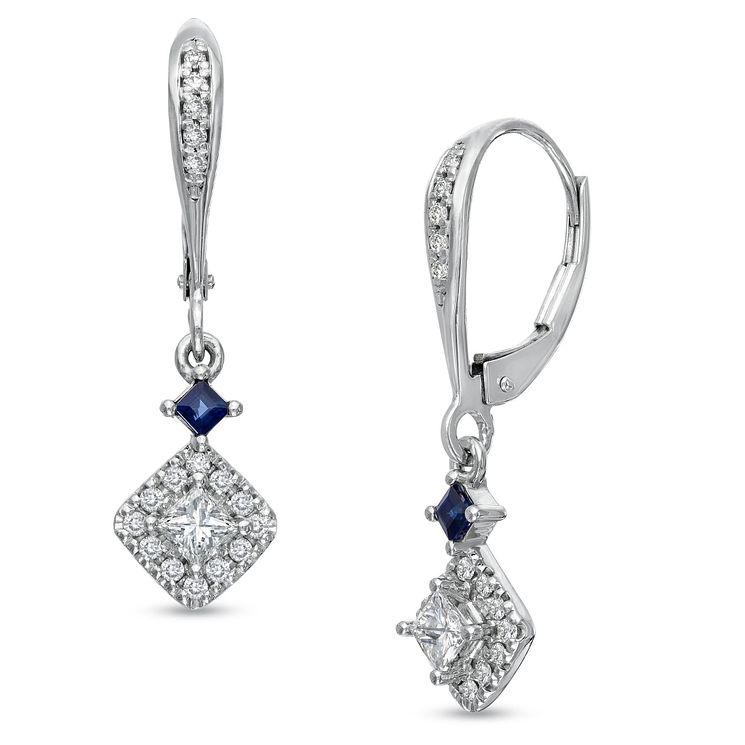 Vera Wang 18ct White Gold 0.45ct Diamond & Sapphire Earrings - Product number 4800680