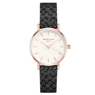 Rosefield Ladies' White Dial Black Leather Strap Watch - Product number 4801946