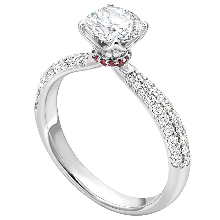 Jan Maarten Asscher 18ct White Gold 0.75ct Diamond Ruby Ring - Product number 4804317
