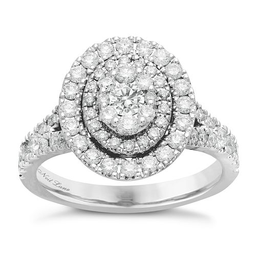 Neil Lane 14ct White Gold 1.18ct Oval Double Halo Ring - Product number 4808452