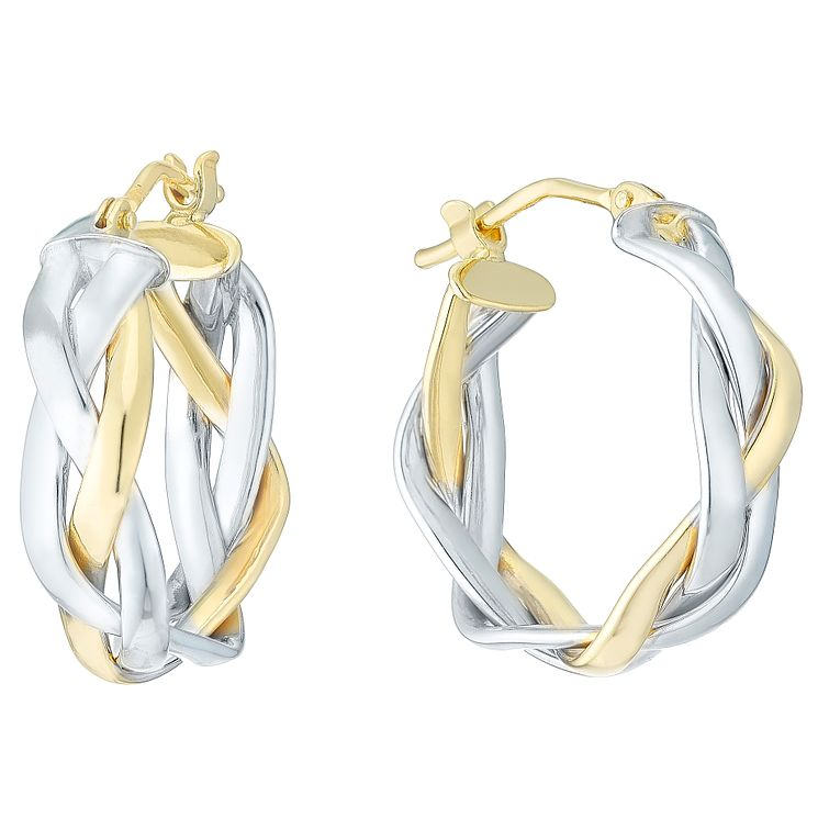 9ct Yellow & White Gold Plait Creole Earrings - Product number 4811380