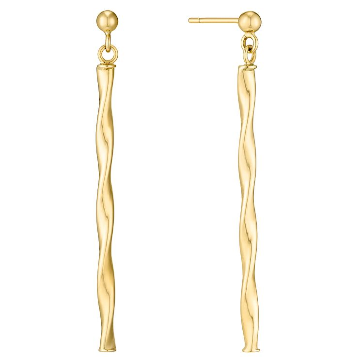 9ct Yellow Gold Twist Bar Drop Earrings - Product number 4811585