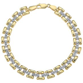 9ct Yellow White Gold Cubic Zirconia Stampata Bracelet - Product number 4811720