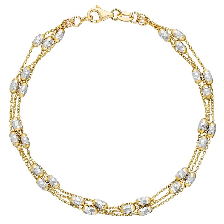 9ct Two Tone Gold Three Strand Bracelet - Product number 4812328