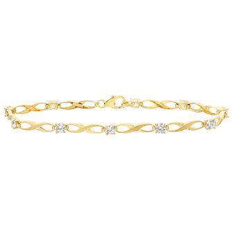 9ct Yellow Gold Cubic Zirconia Kiss Bracelet - Product number 4812409