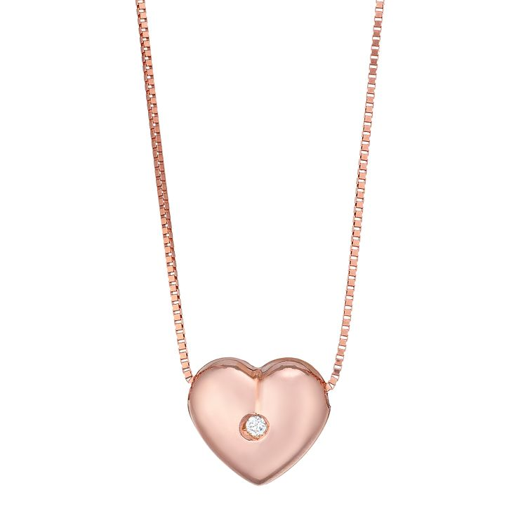 9ct Rose Gold Cubic Zirconia Heart Necklet - Product number 4813235