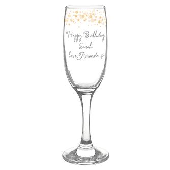 Personalised Gold Stars Glass Flute - Product number 4816986