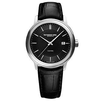 Raymond Weil Maestro Men's Stainless Steel Black Strap Watch - Product number 4823125
