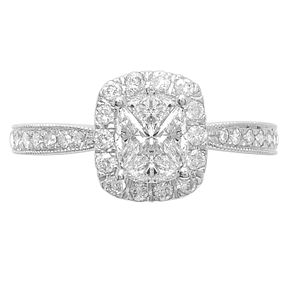 Love Cut 18ct White Gold 1ct Diamond Halo Ring - Product number 4826914
