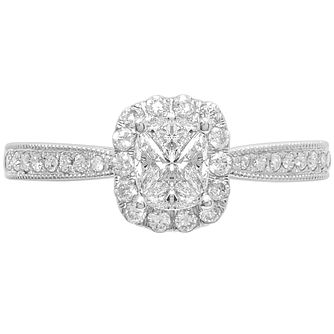 Love Cut 18ct White Gold 0.66ct Diamond Halo Ring - Product number 4827317