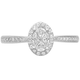 Love Cut 18ct White Gold 0.40ct Diamond Halo Ring - Product number 4827457