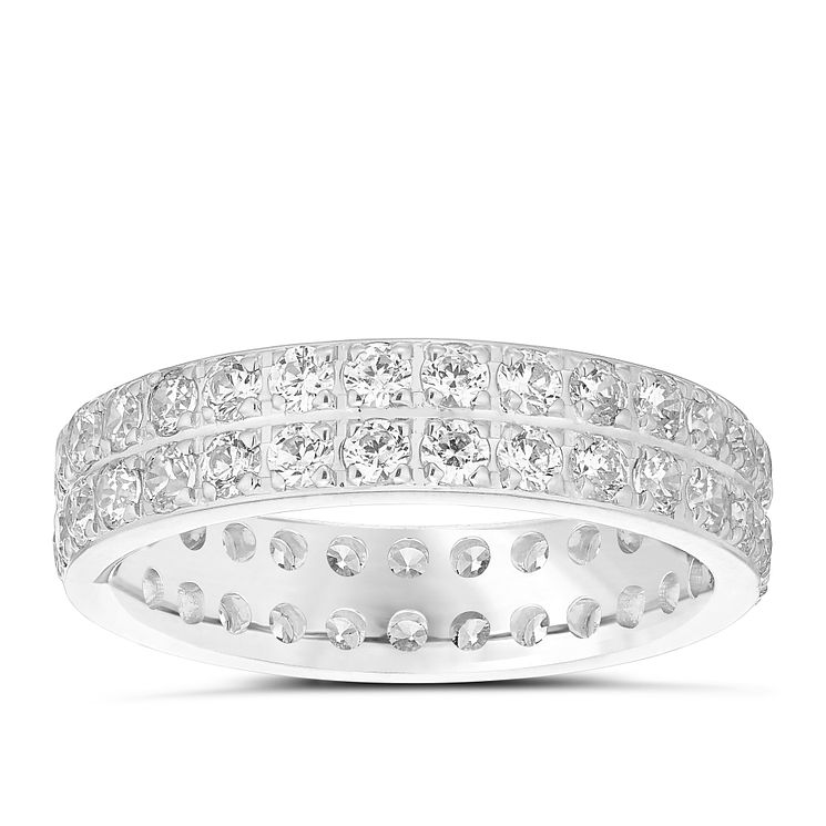 18ct White Gold 1.50ct Diamond Double Row Eternity Ring - Product number 4828496