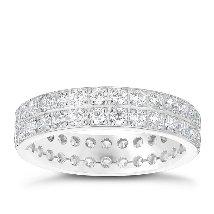Platinum 1.5ct Diamond Double Row Band - Product number 4829085