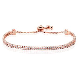Rose Gold Plated Cubic Zirconia Adjustable Bracelet - Product number 4831225