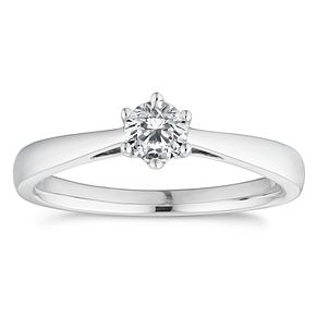 18ct White Gold 1/3ct Diamond Solitaire Ring - Product number 4831802
