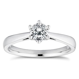 18ct White Gold 1/2ct Diamond Solitaire Ring - Product number 4833171