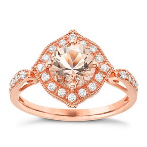 9ct Rose Gold Simulated Morganite Ring - Product number 4833589