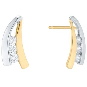 9ct White and Yellow Gold Cubic Zirconia Swish Stud Earrings - Product number 4834283