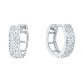9ct White Gold Cubic Zirconia Pave Creole Earrings - Product number 4834305