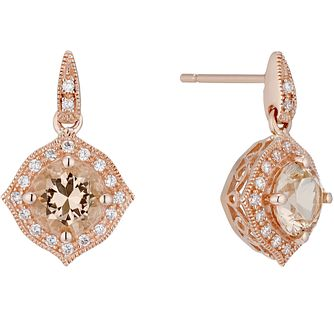 9ct Rose Gold Simulated Morganite Drop Earrings - Product number 4835301