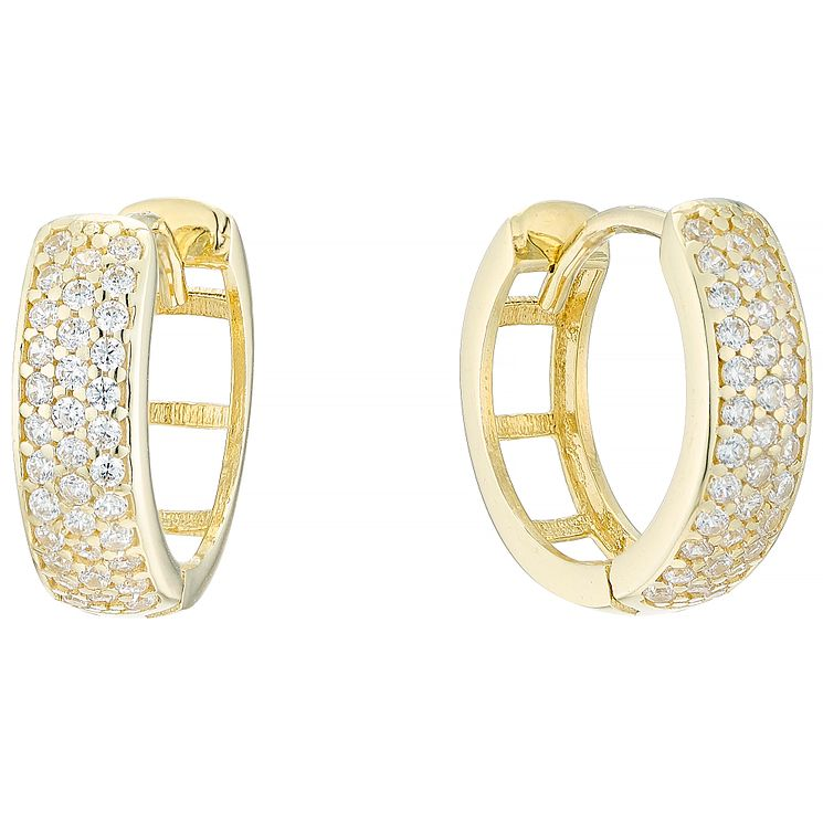 9ct Yellow Gold Cubic Zirconia Pave Creole Earrings - Product number 4835441