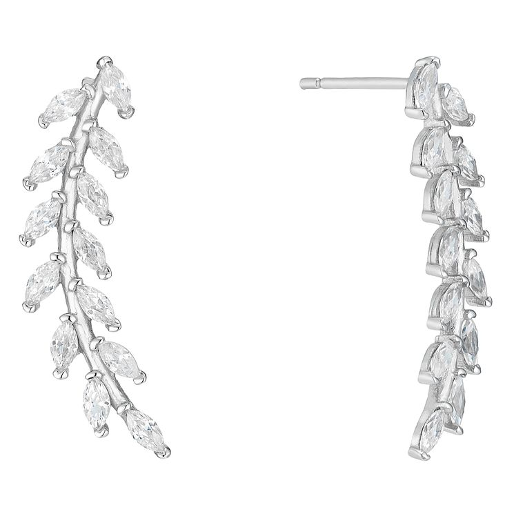 9ct White Gold Cubic Zirconia Floral Ear Climbers - Product number 4835468