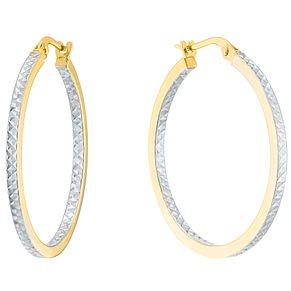 9ct White and Yellow Gold Creole Earrings - Product number 4835565