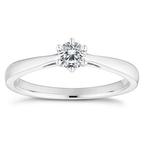 18ct White Gold 1/4 Carat Diamond Solitaire Ring - Product number 4835832