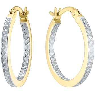 9ct White and Yellow Gold Creole Earrings - Product number 4835913