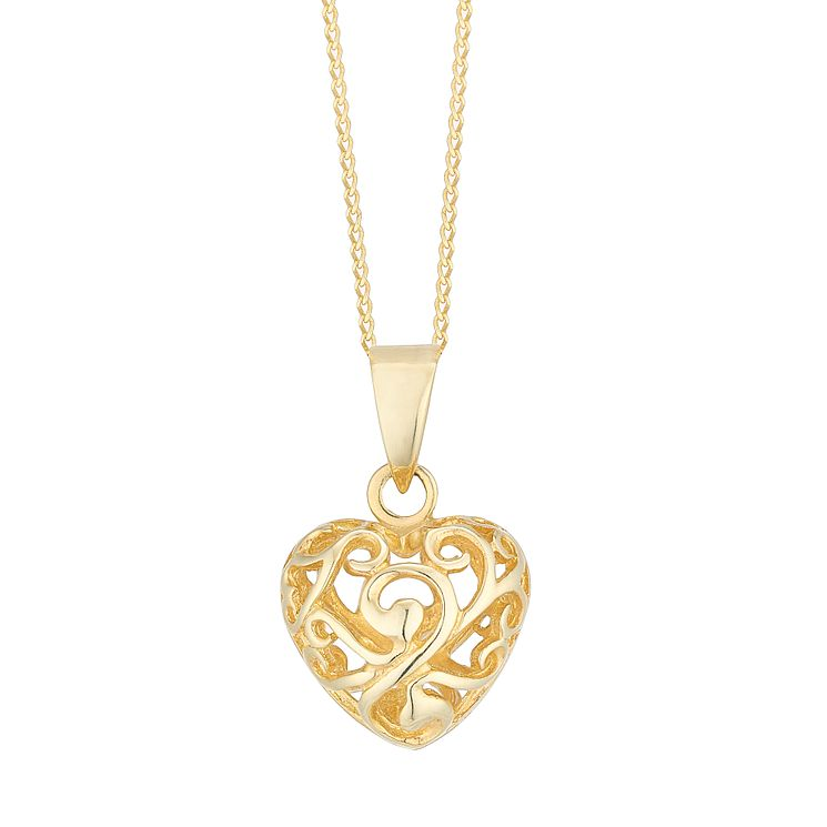 9ct Yellow Gold Cut Out Heart Pendant - Product number 4836219