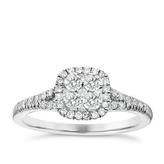Platinum 1/2ct Diamond Cluster Ring - Product number 4836375