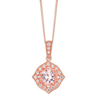 9ct Rose Gold Simulated Morganite Pendant - Product number 4836952