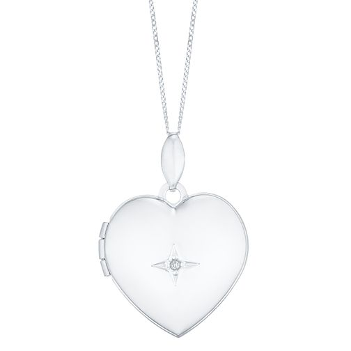9ct White Gold Diamond Heart Locket - Product number 4837010
