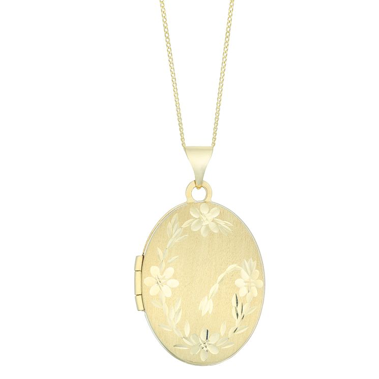 9ct Yellow Gold Floral Oval Locket - Product number 4837118