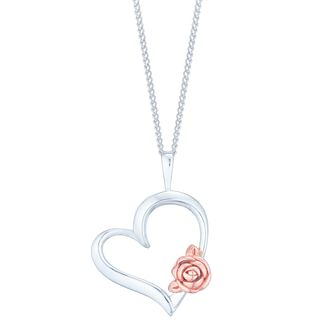 Silver & 9ct Rose Gold Rose Heart Pendant - Product number 4837126