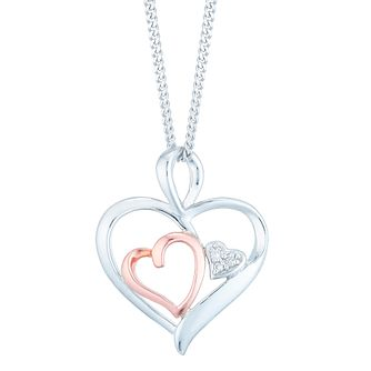 Silver & 9ct Rose Gold Diamond Heart Pendant - Product number 4837142