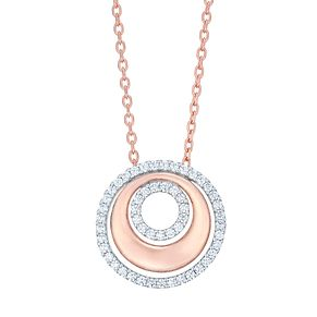 9ct Rose Gold Rhodium Cubic Zirconia Circles Necklet - Product number 4837711