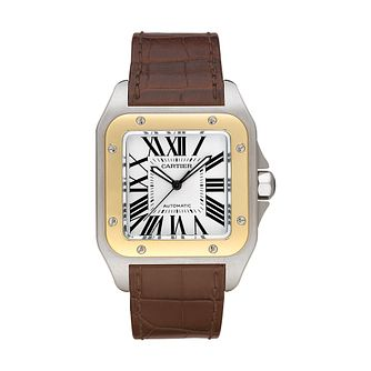 Cartier Santos 100 men's brown leather strap watch - Product number 4838432