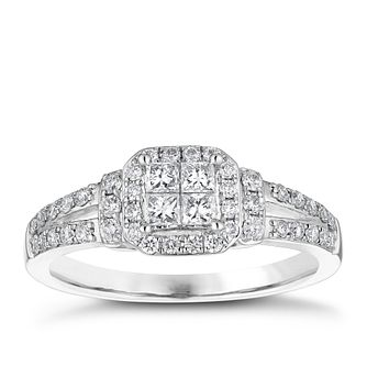 18ct White Gold 1/2ct Princess Cut Cluster Ring - Product number 4838831