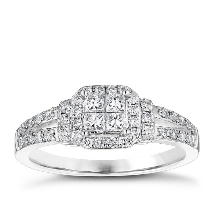 18ct White Gold 0.50ct Princess Cut Cluster Ring - Product number 4838831