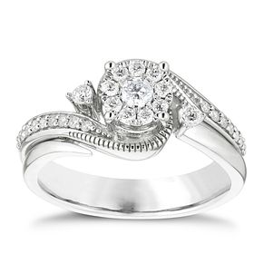 9ct White Gold 0.33ct Diamond Round Cluster Bridal Set - Product number 4839374