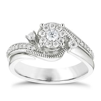 9ct White Gold 1/3ct Diamond Round Cluster Bridal Set - Product number 4839374